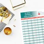 52 week savings challenge on desk